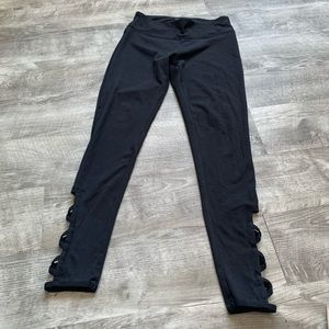 Leggings with leg cut outs